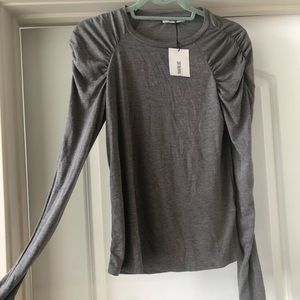 Zara long sleeved grey shirt with ruched shoulders